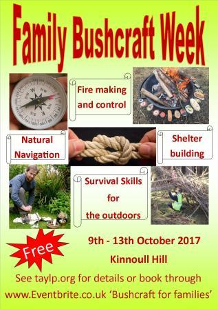 Family Bushcraft Week – 9 ~ 13 October 2017- Kinnoull Hill, Perth – Free